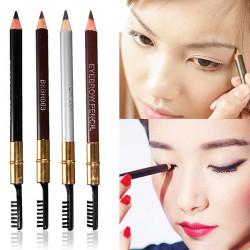 4 Colors 2 in 1 Makeup Cosmetic Eye Liner Eyebrow Pencil Pen Brush