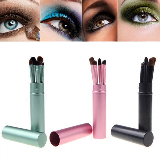 5 Pcs Makeup Cosmetic Eye Shadow Lip Brushes Set Cylinder Case 2021