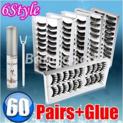 60 Pairs 6 Style False Eye Lash Eyelashes