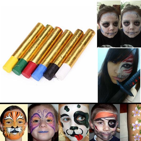 6 Colors Halloween Pigment Face Paint Body Painting Crayon Set Makeup