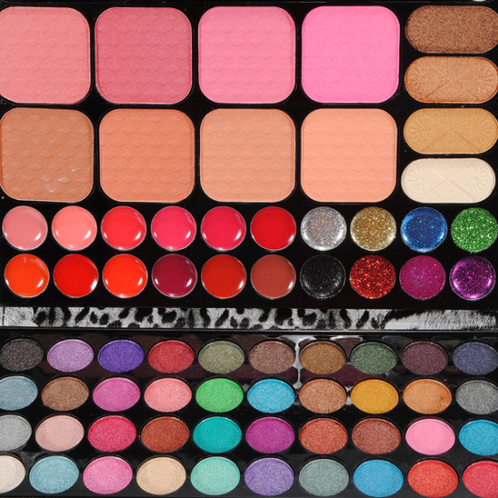 72 Colors Makeup Eyeshadow Lipgloss Blush Powder Palette Leopard Set 2021