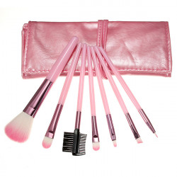 7pcs Cosmetic Makeup Powder Brush Set Foundation Leather Case