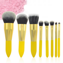 8PCS Soft Synthetic Powder Foundation Lemon Cosmetic Makeup Brush Set