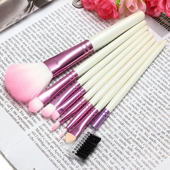 8Pcs Cosmetic Nylon Hair Makeup Brush Set + Pink Alphabet Roll Up Bag 2021