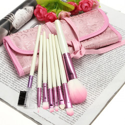 8Pcs Cosmetic Nylon Hair Makeup Brush Set + Pink Alphabet Roll Up Bag