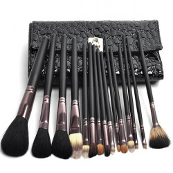 Black 15PCS Wool Makeup Cosmetic Brush Sets With PU Leather Bag Kit