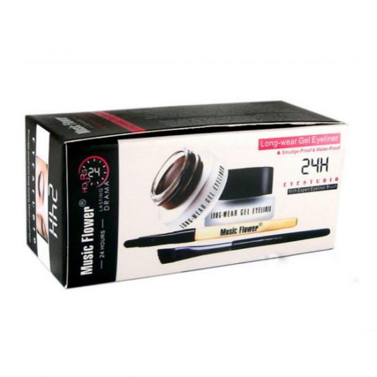 Black Brown Color Long-wear Gel Eyeliner Brush Set