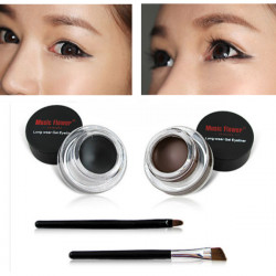 Black Brown Color Long-wear Gel Eyeliner Brush Set