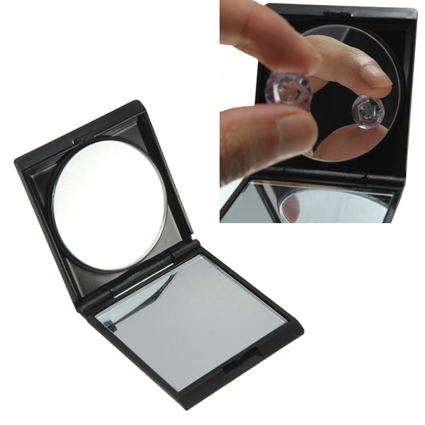 Black Portable Collapsible Double Sided Magnifying Makeup Mirror Makeup