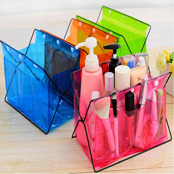 Candy Color PP Plastic Foldable Cosmetic Storage Rack Bag Makeup