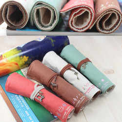 Canvas Wrap Roll Up Makeup Cosmetic Brushes Pouch Holder Pen Bag