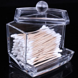 Cosmetic Q-tip Cotton Swabs Acrylic Holder Storage Box