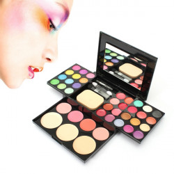 Eyeshadow Blusher Lip Gloss Powder Foundation Puff Makeup Palette Set