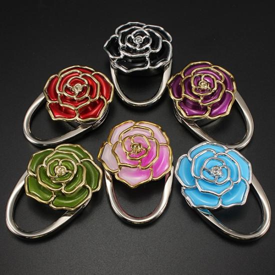 Flower Design Folding Handbag Holder Bag Hanger Purse Table Hook 2021