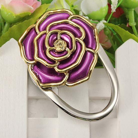 Flower Design Folding Handbag Holder Bag Hanger Purse Table Hook