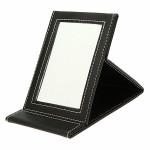 Foldable Black Leather Compact Makeup Desktop Mirror Makeup