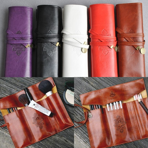 Leather Folding Strap Case Makeup Cosmetic Brush Pouch Makeup