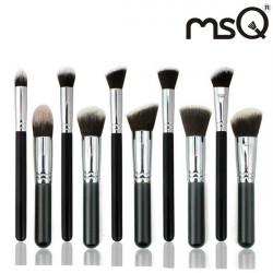 MSQ 10Pcs Black Goat Hair Makeup Cosmetic Brushes Set Kit