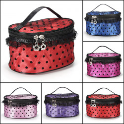 Makeup Lace Dot Pattern Mirror Hand Case Cosmetic Bag