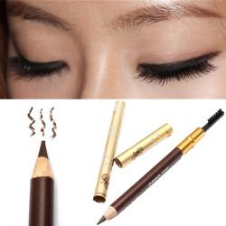 Natural Long Lasting Dark Coffee Eyeliner Eyebrow Pencil Brush Makeup