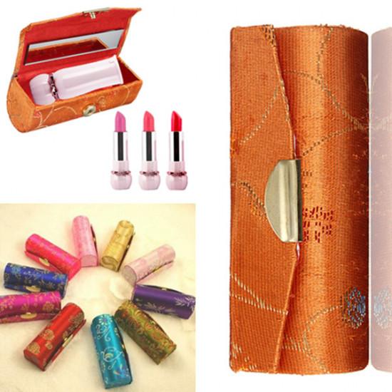 Retro Brocade Embroidered Flower Design Lipstick Case Holder