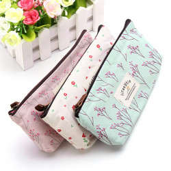 Rural Style Floral Pencil Pen Case Cosmetic Makeup Bag