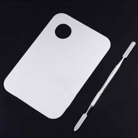 Stainless Steel Plate Nail Art Cosmetic Color Mixing Palette Spatula 2021