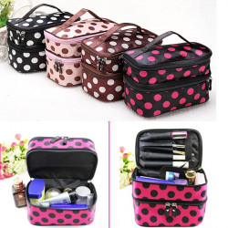 Travel Dot Zip Womens Toiletry Bag Cosmetic Makeup Wash Organizer Case