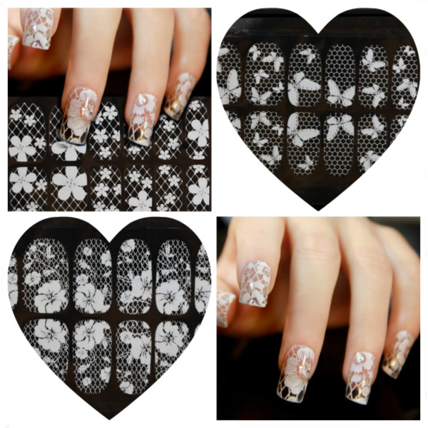 1-8 Transparent White Lace Crystal DIY Nail Sticker Nail Art