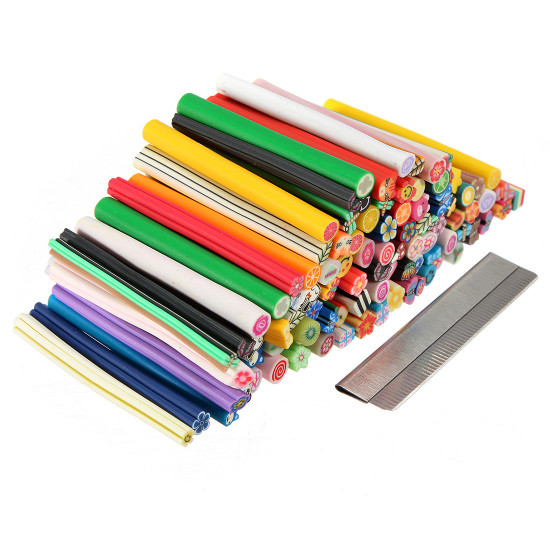 100PCS DIY Nail Art Fimo Canes Rods Sticker Decoration And Blade 2021