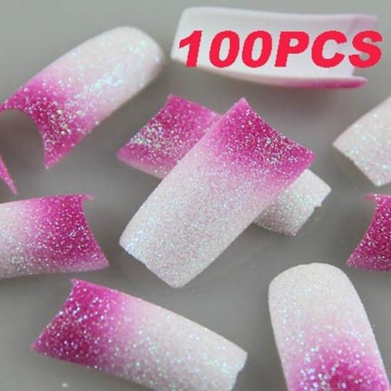 100PCS Pink White Glitter French Acrylic False Nail Tips 2021