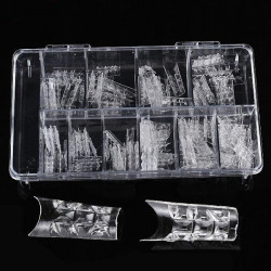 100Pcs Acrylic Transparent Crystal Mold Half Stick False Nail Tips