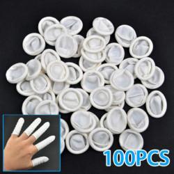 100Pcs Nail Art Latex Rubber Finger Cots Protector Gloves Powder
