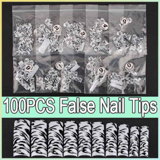 100pcs Black Leopard Dots False Acrylic 3D Nail Art Tips 2021