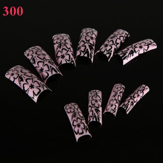 100pcs Flower Panda Pattern Half False DIY Nail Art Tips 2021