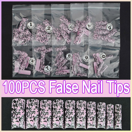 100pcs Pink Acrylic French False 3D Nail Art Tips DIY 2021