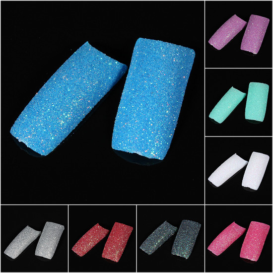 100pcs Stunning Glitter Slice False French Acrylic Nail Tips 2021