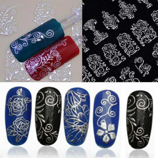 108Pcs 3D Flowers Hot Stamping Decals Nail Art Sticker 2021