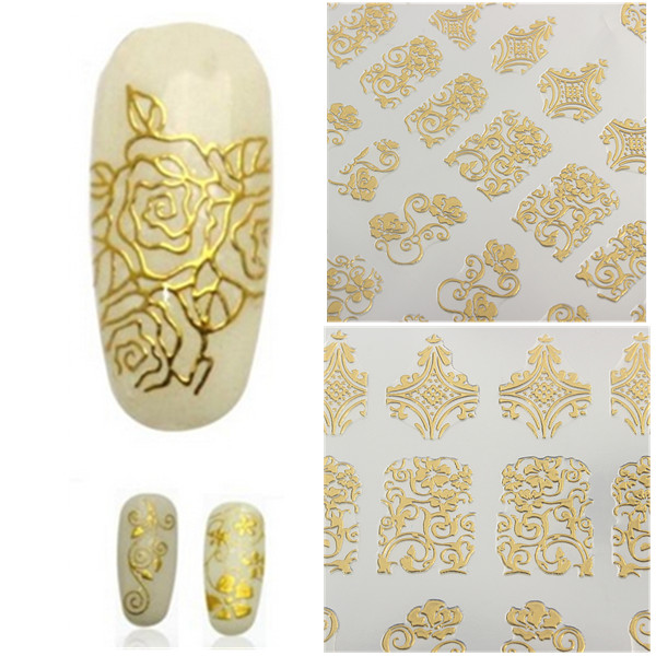 108Pcs Gold Rose Flowers Nail Art Manicures Stickers Decal Nail Art