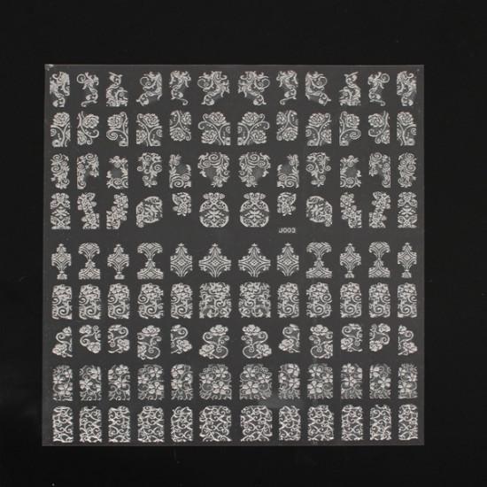 108Pcs Silver Flower Lace Designed Nail Art Sticker Decal Decoration 2021