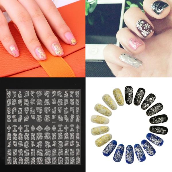 108Pcs Silver Flower Lace Designed Nail Art Sticker Decal Decoration Nail Art