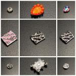 10PCS Orange Crystal Beads Metal Star Zebra Nail Art Decoration