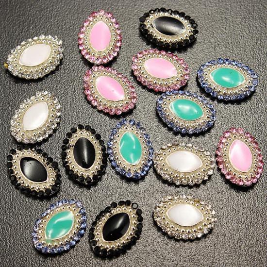 10PCS Oval Crystal Oil Drip Nail Art Decoration 2021