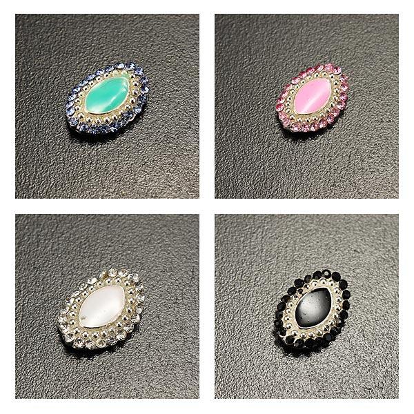 10PCS Oval Crystal Oil Drip Nail Art Decoration