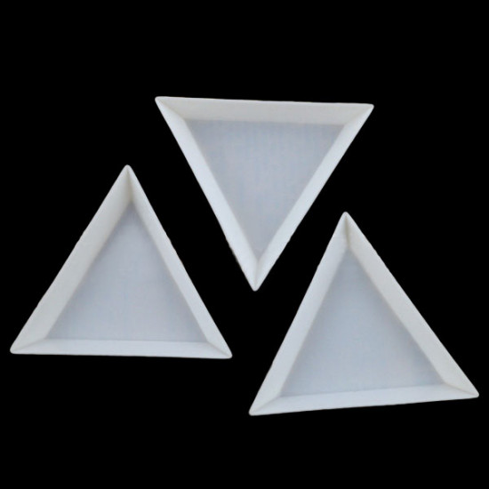 10PCS Plastic Triangle Rhinestone Tray Plate Nail Tool 2021