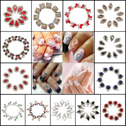 10PCS Shiny Crystal Manicures Nail Art DIY Stickers Decoration Tips