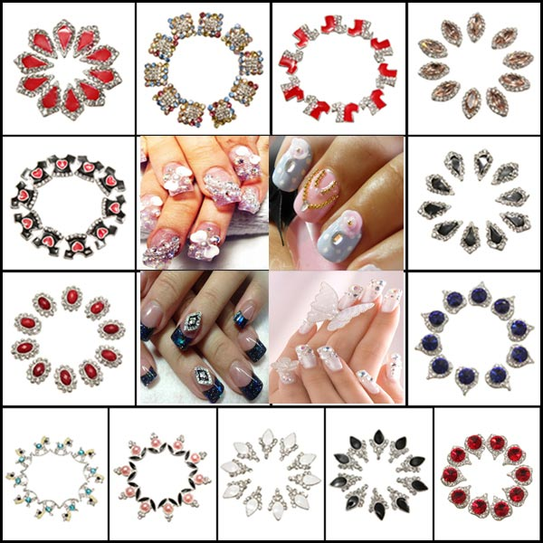 10PCS Shiny Crystal Manicures Nail Art DIY Stickers Decoration Tips