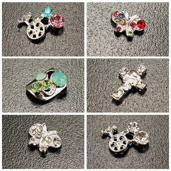 10PCS Skull Crucifix Crystal Metal Shiny Manicure Nail Art Decoration Nail Art