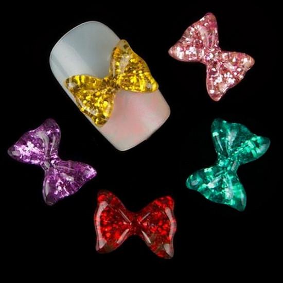 10Pcs 3D Resin Bowknot Design Art Nail Decorations Tips 2021