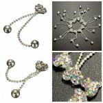10Pcs Metal Crystal Rhinestone Nail Art Decoration Heart Shape Tassel